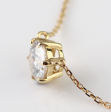 1ct Round Cut Claw Set Pendant Moissanite with Chain - Vintagetears Jewellery Design