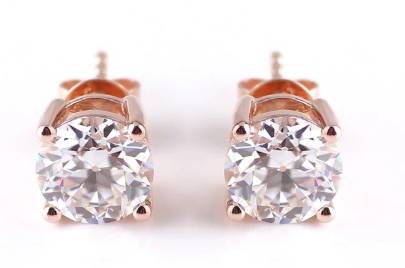 1ct Round Cut Prong Earrings Moissanite - Vintagetears Jewellery Design