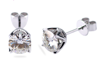 1ct Round Cut Petal Prong Set Earrings Moissanite - Vintagetears Jewellery Design