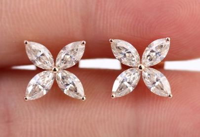 2x4mm Marquise Flower Earrings Moissanite - Vintagetears Jewellery Design