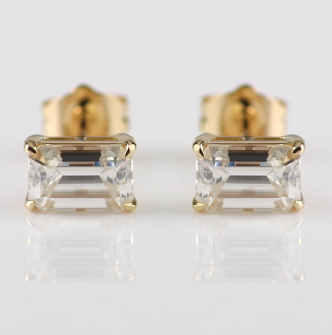 1ct Emerald Cut Earrings Moissanite - Vintagetears Jewellery Design