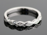Marquise Melee Half Eternity Wedding Band Moissanite - Vintagetears Jewellery Design