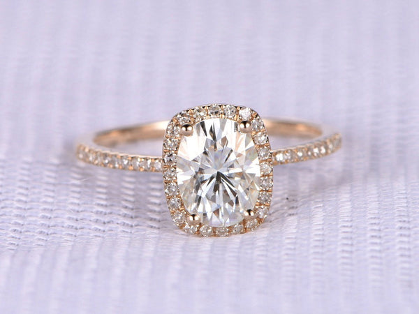 Oval Cut Halo Engagement Ring Moissanite - Vintagetears Jewellery Design