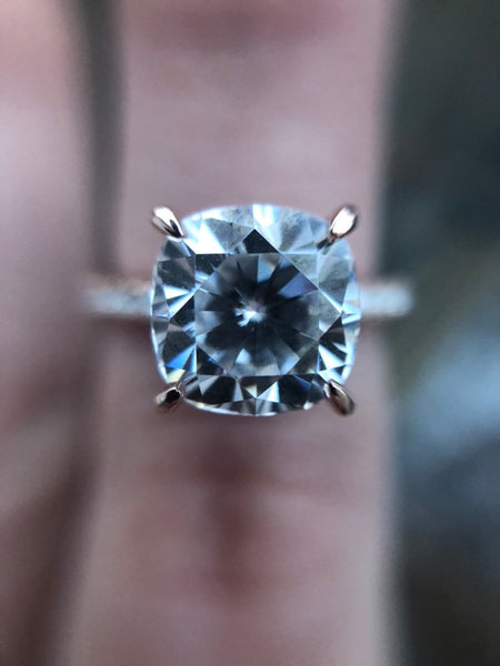 Cushion Cut Engagement Ring with Hidden Halo Moissanite - Vintagetears Jewellery Design