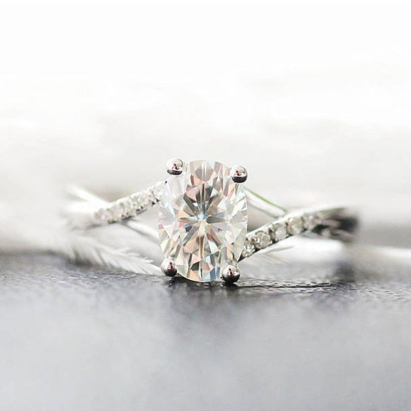 Oval Cut Infinity Engagement Ring Moissanite - Vintagetears Jewellery Design
