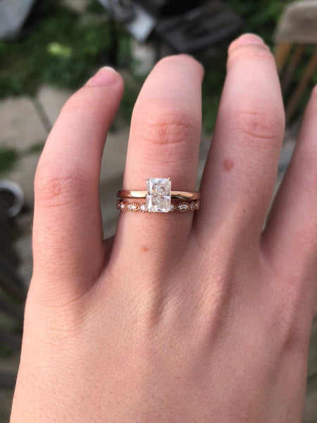 Emerald Cut/Radiant Cut Solitaire Engagement Ring Moissanite - Vintagetears Jewellery Design