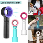 2018 Summer Mini Leafless Fan Handheld 3 Speed Adjustable USB Rechargeable Air Cooling Fan