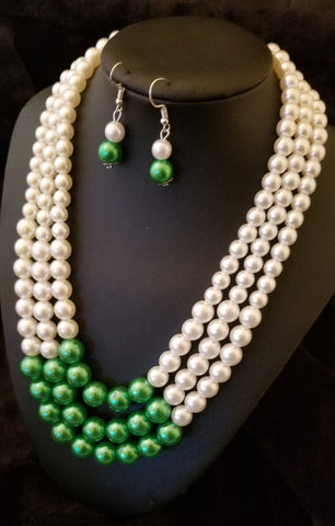 3-strand green and white necklace