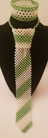 Green and white pearl necktie