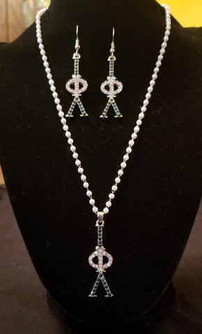 Pearls & Bling necklace and earring set