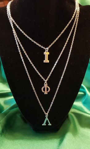 Stainless steel Greek-letter Iota necklace