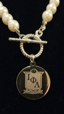 Iota pearl toggle necklace