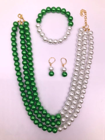 Emerald Dream glass pearl set (necklace, earrings, bracelet)