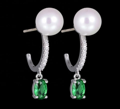 Emerald and Pearl earrings