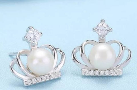 Crown and pearl earrings