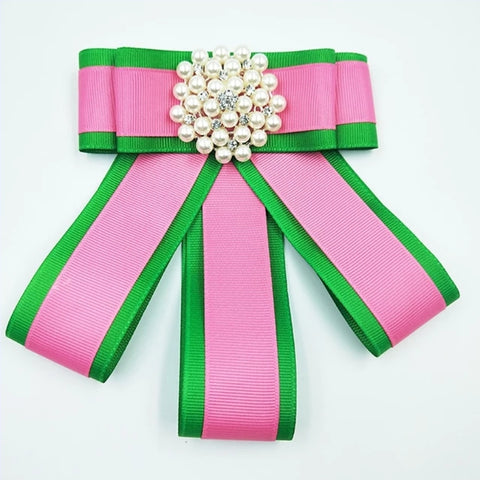 Pink/Green ribbon brooch