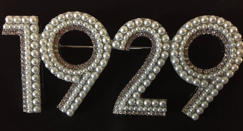 1929 Pearl and Crystal pin