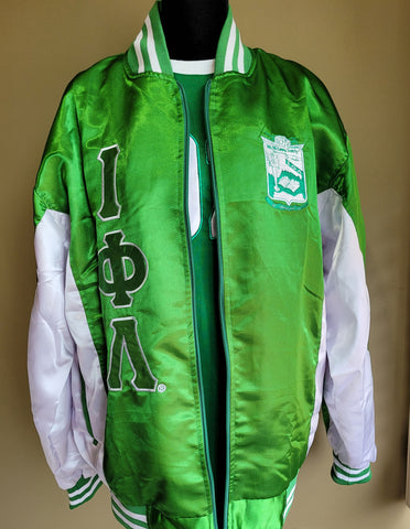 Iota green/white zip-up jacket