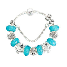 Load image into Gallery viewer, 'Handmade' Blue Acrylic Sea Turtles With Silver Plated Metal Beads For DIY Charm Bracelets & Bangles