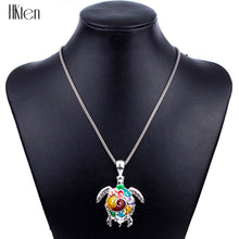 Load image into Gallery viewer, Delightfully 'Fun & Colorful' Sea Turtle Necklace In Sterling Silver Plate!
