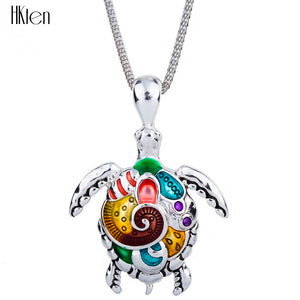 Delightfully 'Fun & Colorful' Sea Turtle Necklace In Sterling Silver Plate!