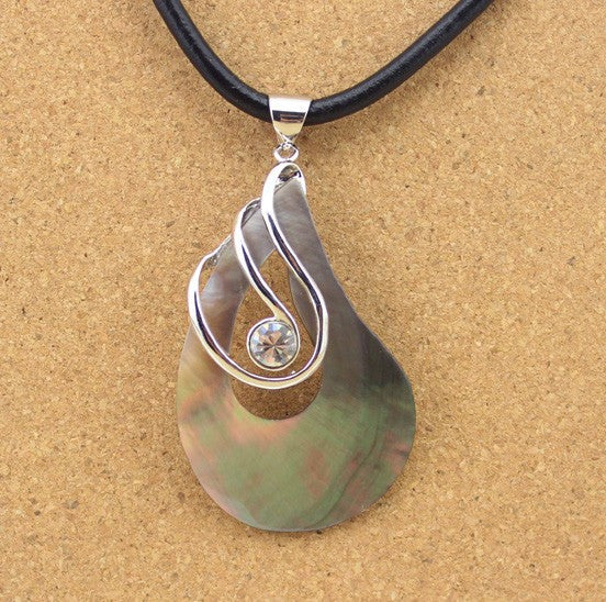Very Unique & Attractive 'Natural Mother Of Pearl Shell' With Brilliant Cubic Zirconia Stone Pendant For DIY Jewelry!
