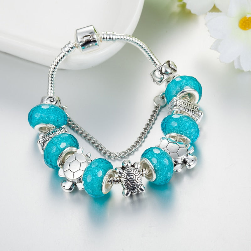 'Handmade' Blue Acrylic Sea Turtles With Silver Plated Metal Beads For DIY Charm Bracelets & Bangles
