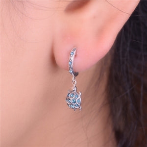 925 Sterling Silver Sea Turtle Dangle/Drop Earrings With Sparkling Rhinestones!