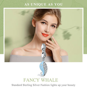 'Really Cute' & Fun Whale Charm In 100% 925 Sterling Silver With Cubic Zirconia Stones -- Awesome!!