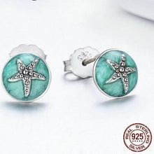 Load image into Gallery viewer, 'Fabulously 'Unique' Genuine 925 Sterling Silver & Cubic Zirconia Stones! Round Starfish Stud Earrings