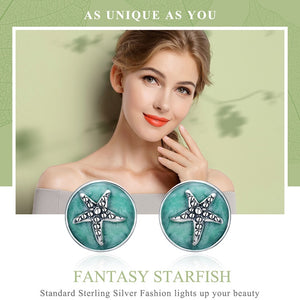 'Fabulously 'Unique' Genuine 925 Sterling Silver & Cubic Zirconia Stones! Round Starfish Stud Earrings