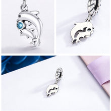 Load image into Gallery viewer, Cutest Little Blue Zircon Stone Dolphin Charm In 100% Sterling Silver!