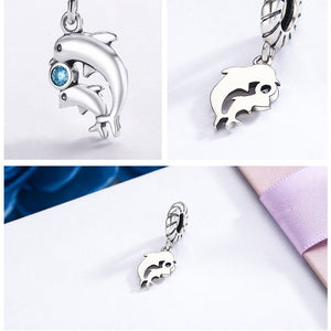 Cutest Little Blue Zircon Stone Dolphin Charm In 100% Sterling Silver!