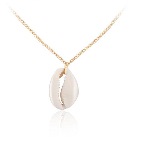 'Simply' Lovely Hawaiian Conch Shell Pendant Necklace on Gold Tone Chain!