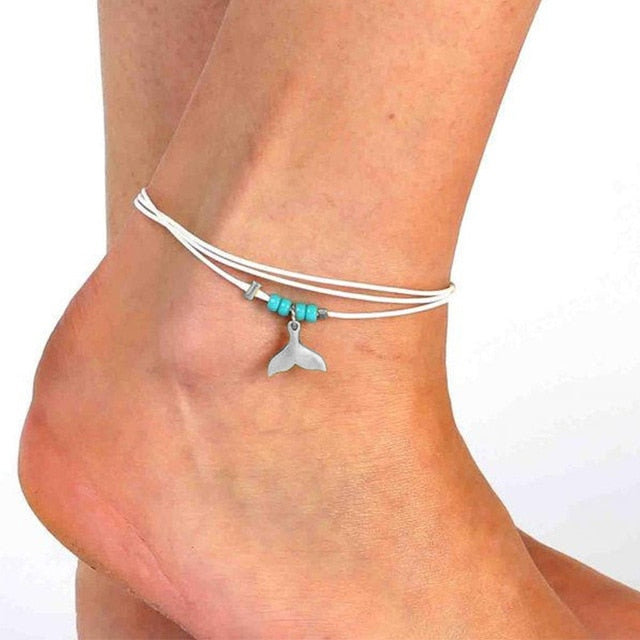 Cute 'Whale Tail' Multi-Layer Rope Anklet For Bare Foot Days At The Beach!