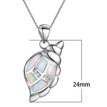 Load image into Gallery viewer, Cute 925 Sterling Silver Filled Conch Sea Shell Necklace with White Fire Opal Inlays!