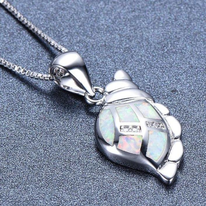 Cute 925 Sterling Silver Filled Conch Sea Shell Necklace with White Fire Opal Inlays!