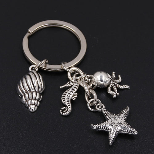 Antique Silver Starfish Key Ring With Conch Shell & Sea Horse & Octopus!
