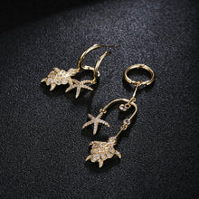 Load image into Gallery viewer, 'Luxury' Cubic Zirconia Sea Turtle & Starfish Drop Earrings In Gold Tone Copper