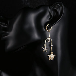 'Luxury' Cubic Zirconia Sea Turtle & Starfish Drop Earrings In Gold Tone Copper