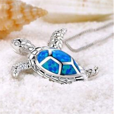 Wonderfully Trendy Silver Plated  'Blue Opal' Sea Turtle Pendant Necklace