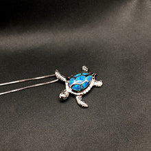 Load image into Gallery viewer, Wonderfully Trendy Silver Plated  'Blue Opal' Sea Turtle Pendant Necklace