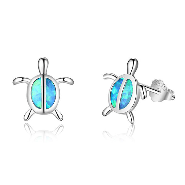 Sterling Plate 'Blue Fire Opal' Cutely Designed  Stud Earring!