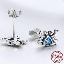 Load image into Gallery viewer, Lovely 'Pure 925 Sterling Silver' Crab Stud Earrings with Cubic Zirconia Stones