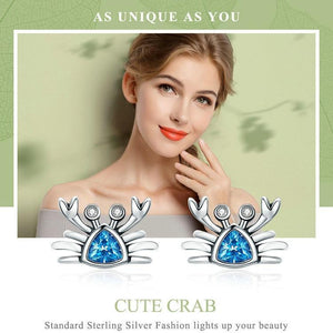 Lovely 'Pure 925 Sterling Silver' Crab Stud Earrings with Cubic Zirconia Stones