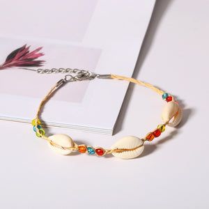 Ethnic Natural Sea Shell Anklet With Straw And Acrylic Beads!