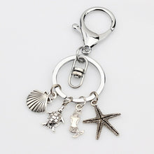 Load image into Gallery viewer, Awesome 'Solidly Made'' Sea Turtle Starfish Mermaid Shell Pendant Charm Key Chain Or Charm To Fit DIY