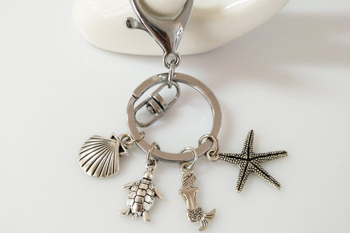 Awesome 'Solidly Made'' Sea Turtle Starfish Mermaid Shell Pendant Charm Key Chain Or Charm To Fit DIY