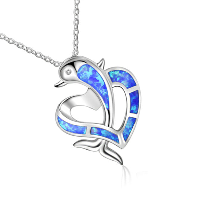 'Striking' Silver Plated Blue Fire Opal' Dolphin Heart Pendant Necklace!