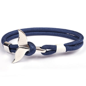 Trendy Summery Silver Whale Tail Survival Rope Bracelet With Simple Hook!